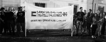 Striscione flash mob Fratelli dei palestinesi